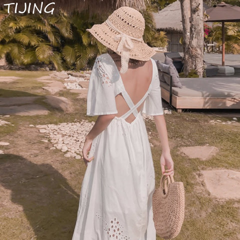 Bohemian Lace Maxi Kawaii White Dresses