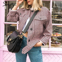 Vintage Button pockets retro tweed Chic plaid jackets