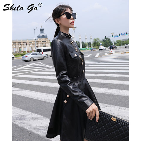 Genuine Leather Mock Neck Button Detail Long Sleeve Black Dresses