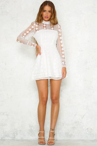 Long Sleeve Sexy Elegant Pattern Lace White Dresses