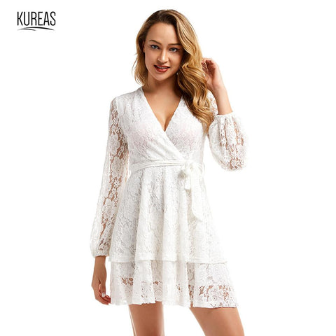 Sexy Lace Cross V Neck Lantern Sleeve with Waistband Woven White Dresses