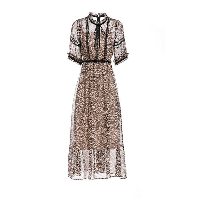 Retro Wind Lace Wooden Ears Round Neck Leopard Dresses
