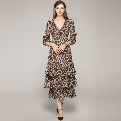 Sexy V Neck Three Quarter Sleeves Slim Ruffles Leopard Dresses