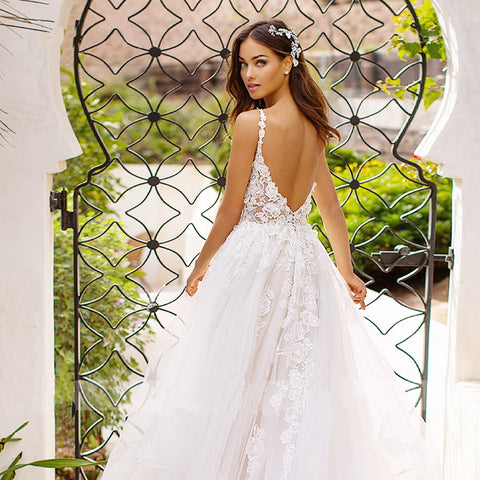 Sexy V neck Backless Applique Lace Beads Wedding Dresses
