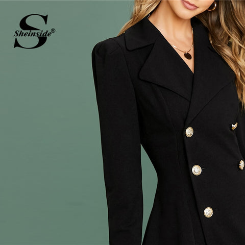 Black Elegant Button Up High Waist Minimalist Blazer Dresses