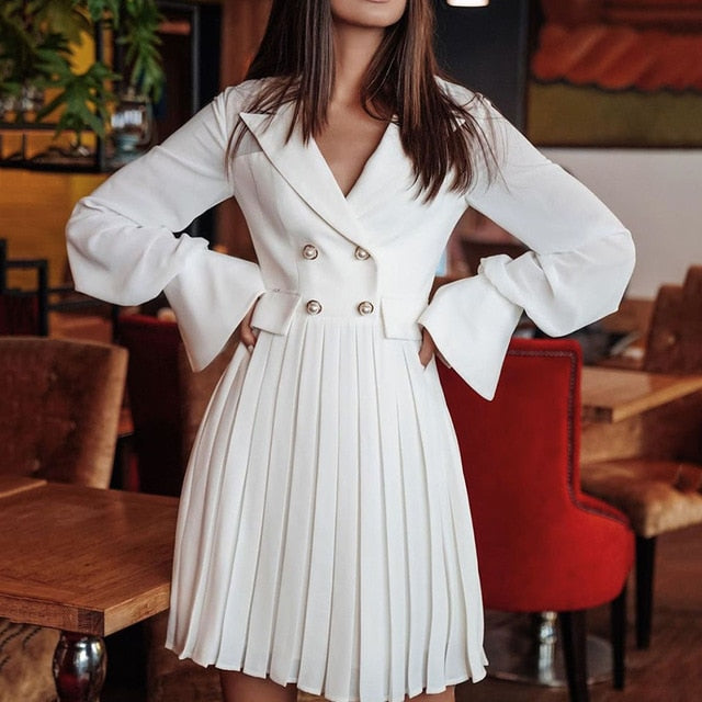Elegant Ruffle Casual Notched Double Breasted Blazer Dresses