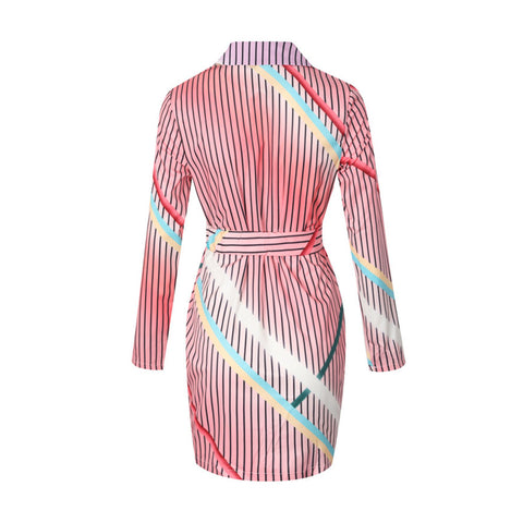 Long Sleeve Pink Striped Print Belted Sexy Blazer Dresses