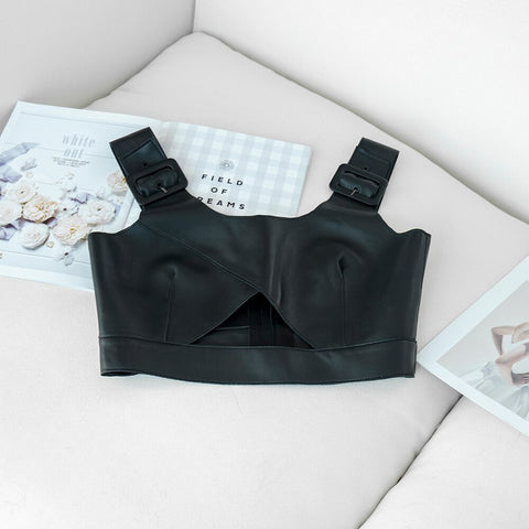 black real sheepskin leather tank top