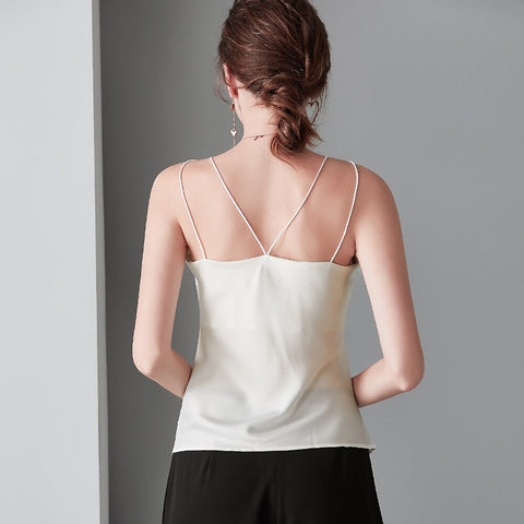 Gold Embroidery Lace V Neck Silk White Shirt Stain Cami Tank Top