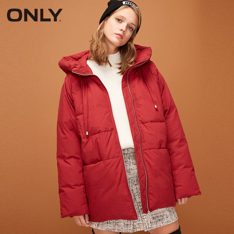 Mid length Loose Fit Drawstring Duck Down Jacket