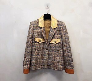 luxury Gold Genuine Leather Patchwork Rough Silk Lining Jackets