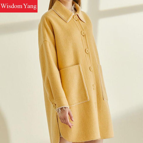 Long Wool Yellow Coat