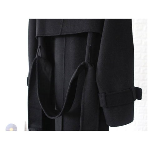 Woolen Solid Color Double Sided Cashmere Parker Casual Coats