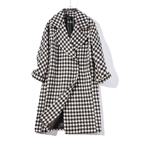 Long Wool blends Plaid Coat