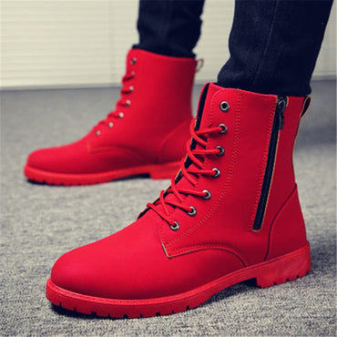 British Red High Top Army Boots