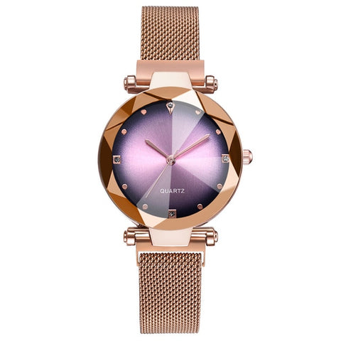 Luxury Rose Gold Starry Sky Magnetic Mesh Rhinestone Watch