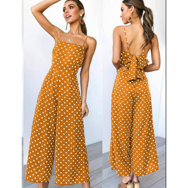 Sleeveless Backless Bow knot  Dot Jumpsuits