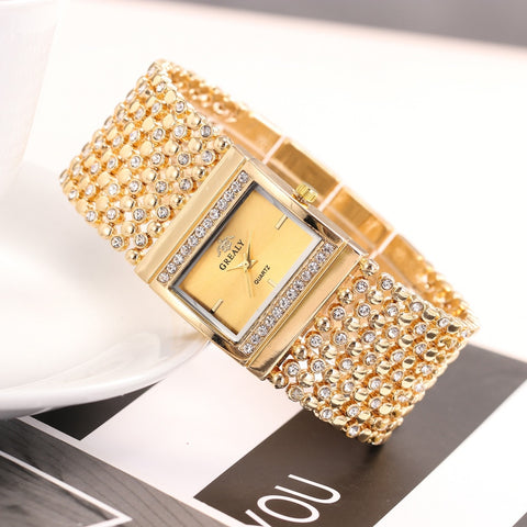Exquisite Luxury Metal Mesh Belt Rectangle Dial With Diamond Watches