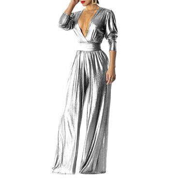 Elegant Glitter Sexy Deep V Neck Long Sleeve Ruched with Pockets Jumpsuits