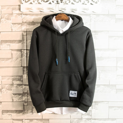 Solid Color Pouch Pocket Fleece Hoodie