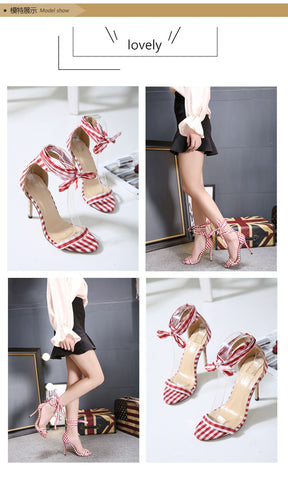 Ankle Strap Lace Up Party Bow High Shoes High Heels