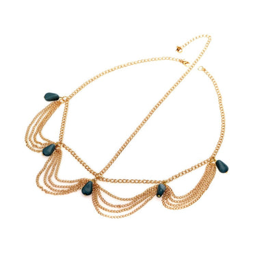 Multi Layer Metal Gold Color Beads Head Chain Boho Bohemian Accessories