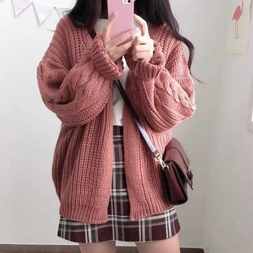 Solid Cardigans Long Button Sweater