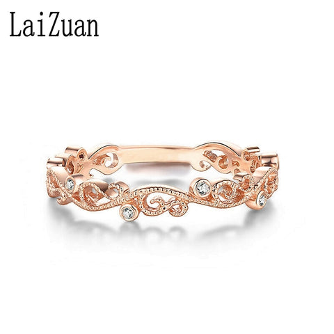 Solid Rose Gold Bezel Genuine Natural Diamond Ring