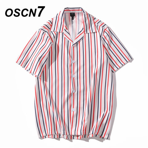 Casual Stripe Printed Short Sleeve Shirt