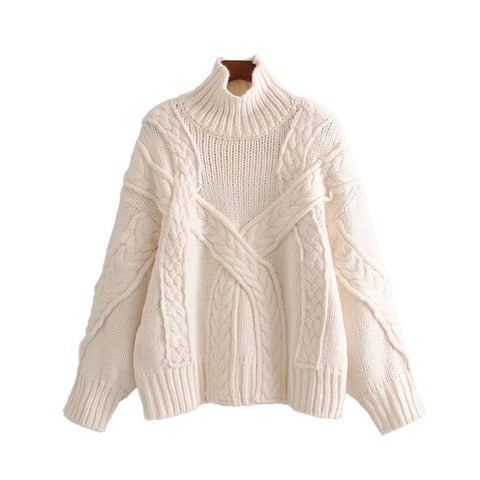 Vintage Stylish Cable Knitted High Collar Long Sleeve Stretchy Sweater