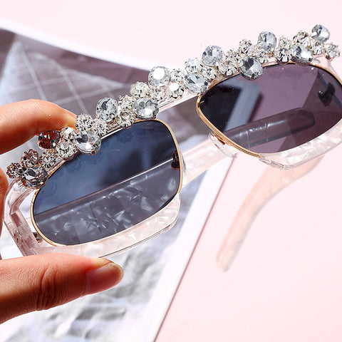 Vintage Diamond Luxury Mirror Rhinestone Sunglasses