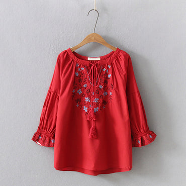 Ethnic Flare Sleeve Embroidery Bohemian Blouse Shirts