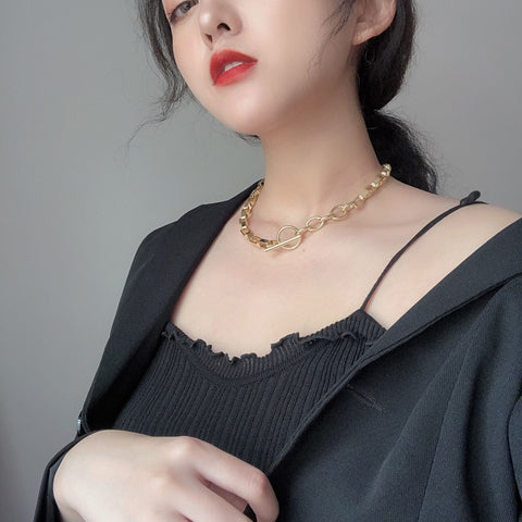 metal gold alloy simple geometric clavicle chain necklace