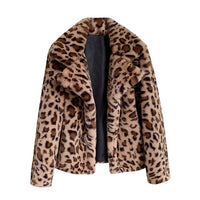 Fluffy Teddy Leopard Print Loose Turn Down Collar Fleece Jacket