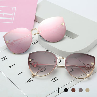 Cat Eye Metal Frame Mirror Vintage Rimless Gradient Sunglasses