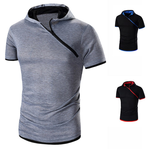 casual solid color hooded diagonal zipper short sleeve T-shirt