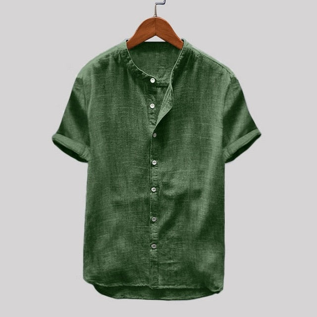 Loose Cotton Material Solid Color Retro Short Sleeve Shirts