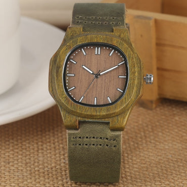 Natural Light Face Genuine Leather Bangle Unisex Wood Watches