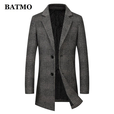 high quality wool plaid trench coat