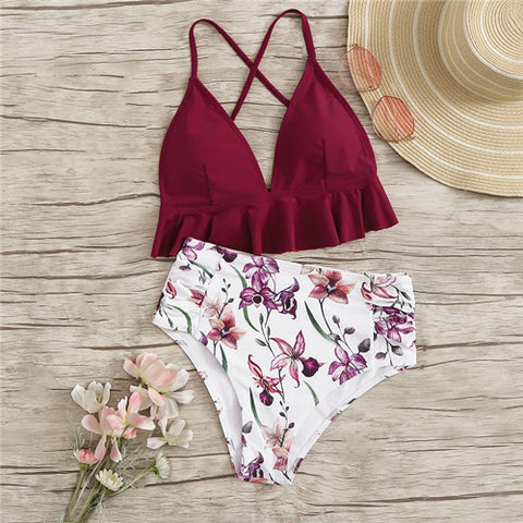 Ruffle Hem Criss Cross Top Set With Floral Print Bikini