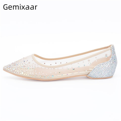 Nude Bling Sequins Slim Shallow Casual Sexy Mesh Air Flat shoes