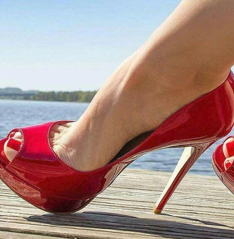 Red Patent Leather Pumps Stiletto Heels