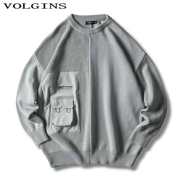 Pullover Casual Pocket O-Neck Knitted Sweaters