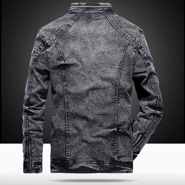 Solid Color zipper Casual Denim Jackets