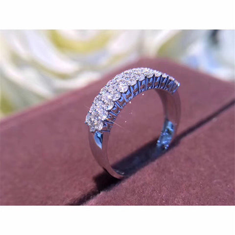 Eternity Promise Pave AAAAA cz stone Sterling Silver Rings