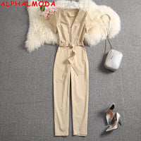 Short-sleeved Pocket Zipper Slim Fit Casual Jumpsuits