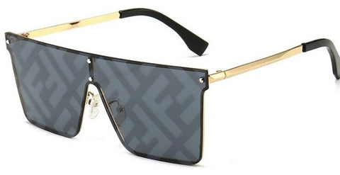 Square Luxury Flat Top Black Clear Lens Sunglasses