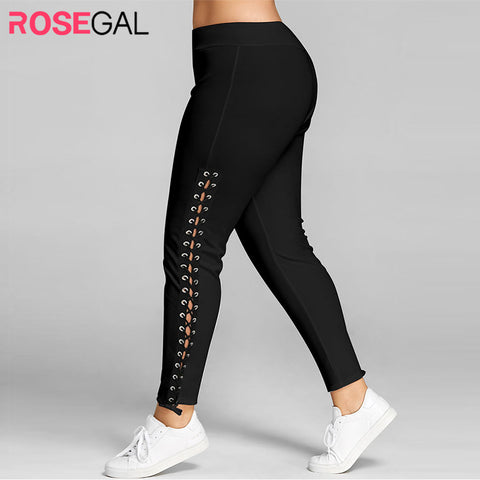 Lace Up Grommet Pencil Black White Leggings