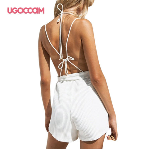 One Piece Set White Sexy Sleeveless Casual Rompers