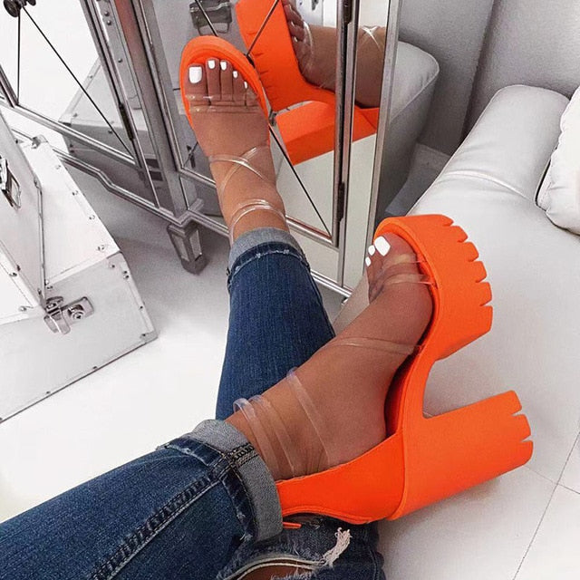 Orange PVC Jelly Sandals Open Toe Thick High Heels
